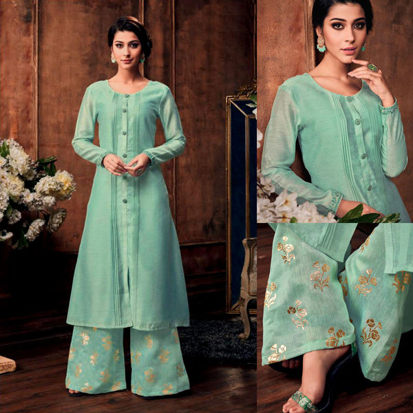PALE TURQUOISE READYMADE SIZE 44/XXL MUGA SILK SALWAR KAMEEZ KURTA PALAZZO PARTY SUIT LADIES DEN - Ladies Den