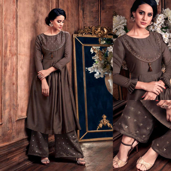 DARK BROWN READYMADE SIZE 44/XXL MUGA SILK SALWAR KAMEEZ KURTA PALAZZO PARTY SUIT LADIES DEN - Ladies Den