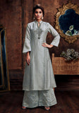 SILVER GRAY READYMADE SIZE 44/XXL MUGA SILK SALWAR KAMEEZ KURTA PALAZZO PARTY SUIT LADIES DEN - Ladies Den