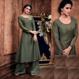 DULL OLIVE GREEN READYMADE SIZE 44/XXL MUGA SILK SALWAR KAMEEZ KURTA PALAZZO PARTY SUIT LADIES DEN - Ladies Den