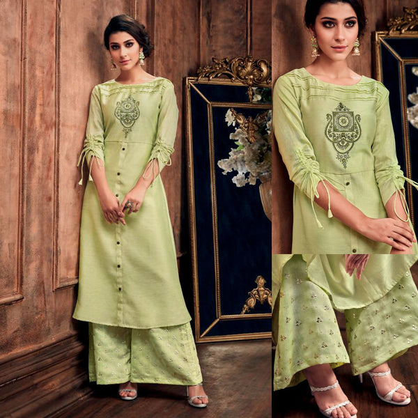 LIGHT LIME GREEN READYMADE SIZE 44/XXL MUGA SILK SALWAR KAMEEZ KURTA PALAZZO PARTY SUIT LADIES DEN - Ladies Den