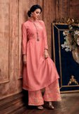 SALMON PINK READYMADE SIZE 44/XXL MUGA SILK SALWAR KAMEEZ KURTA PALAZZO PARTY SUIT LADIES DEN - Ladies Den