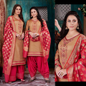 DARK BEIGE-CARROT RED CHANDERI SILK BANARASI DUPATTA UNSTITCHED PATIALA SALWAR KAMEEZ SUIT DRESS MATERIAL w BEADS WORK LADIES DEN - Ladies Den