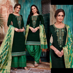 DARK TEAL GREEN-GREEN CHANDERI SILK BANARASI DUPATTA UNSTITCHED PATIALA SALWAR KAMEEZ SUIT DRESS MATERIAL w BEADS WORK LADIES DEN - Ladies Den