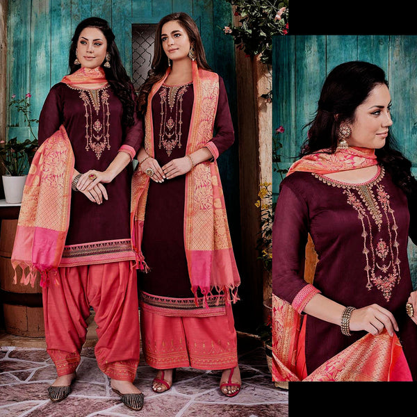 DARK MAROON-SALMON PINK CHANDERI SILK BANARASI DUPATTA UNSTITCHED PATIALA SALWAR KAMEEZ SUIT DRESS MATERIAL w BEADS WORK LADIES DEN - Ladies Den