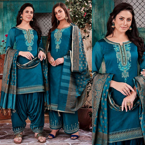 PEACOCK BLUE CHANDERI SILK BANARASI DUPATTA UNSTITCHED PATIALA SALWAR KAMEEZ SUIT DRESS MATERIAL w BEADS WORK LADIES DEN - Ladies Den