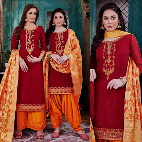 RED-SAFFRON CHANDERI SILK BANARASI DUPATTA UNSTITCHED PATIALA SALWAR KAMEEZ SUIT DRESS MATERIAL w BEADS WORK LADIES DEN - Ladies Den