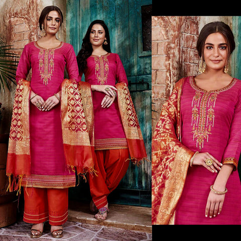 DEEP PINK-RUSTY ORANGE CHANDERI SILK BANARASI DUPATTA UNSTITCHED PATIALA SALWAR KAMEEZ SUIT DRESS MATERIAL w BEADS WORK LADIES DEN - Ladies Den