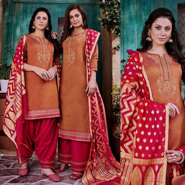 SANDY BROWN-CARROT RED CHANDERI SILK BANARASI DUPATTA UNSTITCHED PATIALA SALWAR KAMEEZ SUIT DRESS MATERIAL w BEADS WORK LADIES DEN - Ladies Den