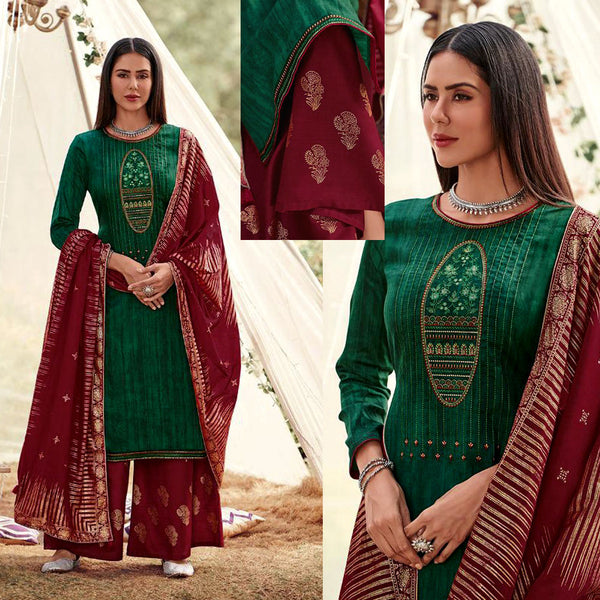 DARK GREEN-MAROON RED GOLDEN BLOCK PRINTED SATIN COTTON UNSTITCHED SALWAR KAMEEZ SUIT w EMBR & COTTON DUPATTA DRESS MATERIAL LADIES DEN - Ladies Den