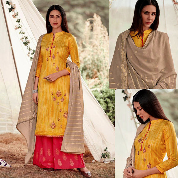YELLOW-CARROT RED GOLDEN BLOCK PRINTED SATIN COTTON UNSTITCHED SALWAR KAMEEZ SUIT w EMBR & FAUN COTTON DUPATTA DRESS MATERIAL LADIES DEN - Ladies Den