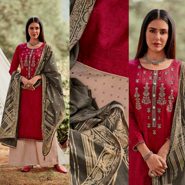 MAROON RED-FAUN GOLDEN BLOCK PRINTED SATIN COTTON UNSTITCHED SALWAR KAMEEZ SUIT w EMBR & MOUSE GRAY COTTON DUPATTA DRESS MATERIAL LADIES DEN - Ladies Den
