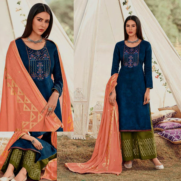 NIGHT BLUE-OLIVE GREEN GOLDEN BLOCK PRINTED SATIN COTTON UNSTITCHED SALWAR KAMEEZ SUIT w EMBR & PEACH COTTON DUPATTA DRESS MATERIAL LADIES DEN - Ladies Den