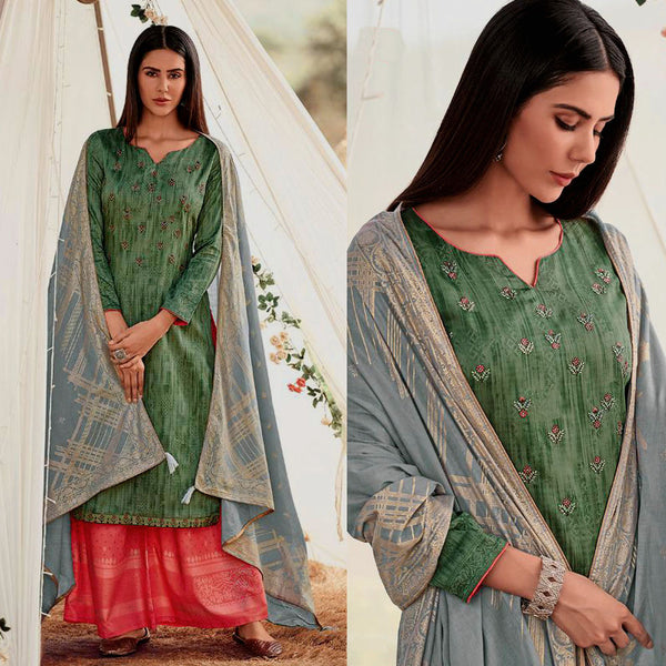 SEA GREEN-LT CARROT RED GOLDEN BLOCK PRINTED SATIN COTTON UNSTITCHED SALWAR KAMEEZ SUIT w EMBR & LT GRAY COTTON DUPATTA DRESS MATERIAL LADIES DEN - Ladies Den