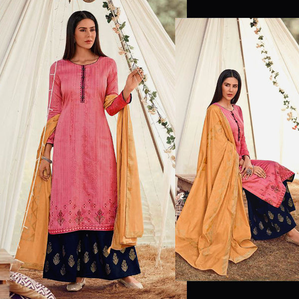 PINK-NIGHT BLUE GOLDEN BLOCK PRINTED SATIN COTTON UNSTITCHED SALWAR KAMEEZ SUIT w EMBR & YELLOW COTTON DUPATTA DRESS MATERIAL LADIES DEN - Ladies Den