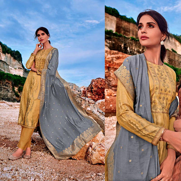 OLD GOLD PRINTED SATIN COTTON UNSTITCHED SALWAR KAMEEZ SUIT GRAY BANARASI SILK DUPATTA DRESS MATERIAL LADIES DEN