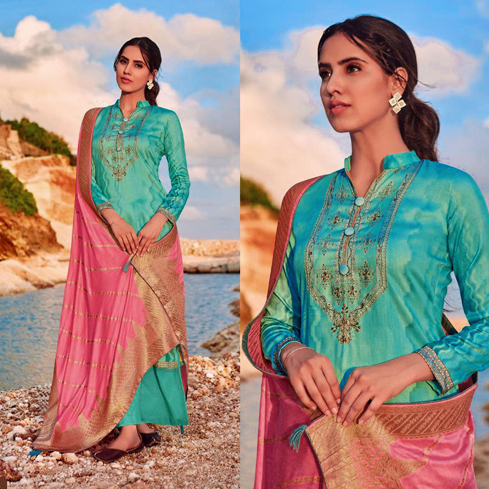 TURQUOISE PRINTED SATIN COTTON UNSTITCHED SALWAR KAMEEZ SUIT PINK BANARASI SILK DUPATTA DRESS MATERIAL LADIES DEN - Ladies Den