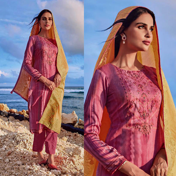 PALE VIOLET RED PRINTED SATIN COTTON UNSTITCHED SALWAR KAMEEZ SUIT YELLOW BANARASI SILK DUPATTA DRESS MATERIAL LADIES DEN - Ladies Den