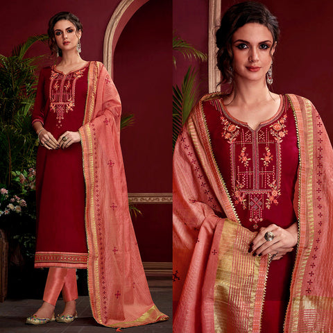 MAROON RED SATIN COTTON UNSTITCHED SALWAR KAMEEZ SUIT w EMBR SALMON PINK KOTA SILK DUPATTA DRESS MATERIAL LADIES DEN - Ladies Den