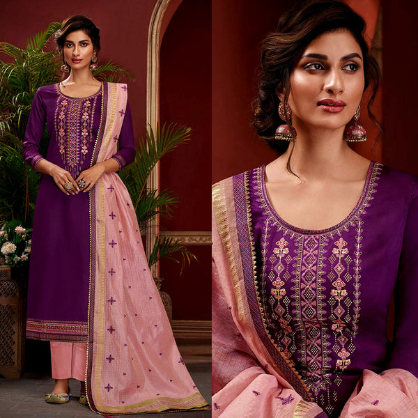 PURPLE SATIN COTTON UNSTITCHED SALWAR KAMEEZ SUIT w EMBR PINK KOTA SILK DUPATTA DRESS MATERIAL LADIES DEN - Ladies Den