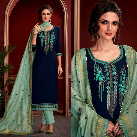 NIGHT BLUE SATIN COTTON UNSTITCHED SALWAR KAMEEZ SUIT w EMBR AQUAMARINE KOTA SILK DUPATTA DRESS MATERIAL LADIES DEN - Ladies Den