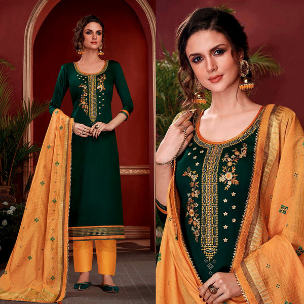 DARK GREEN SATIN COTTON UNSTITCHED SALWAR KAMEEZ SUIT w EMBR YELLOW KOTA SILK DUPATTA DRESS MATERIAL LADIES DEN - Ladies Den