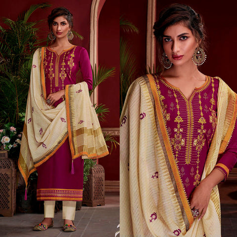 DARK VIOLET RED SATIN COTTON UNSTITCHED SALWAR KAMEEZ SUIT w EMBR LIGHT BEIGE KOTA SILK DUPATTA DRESS MATERIAL LADIES DEN - Ladies Den