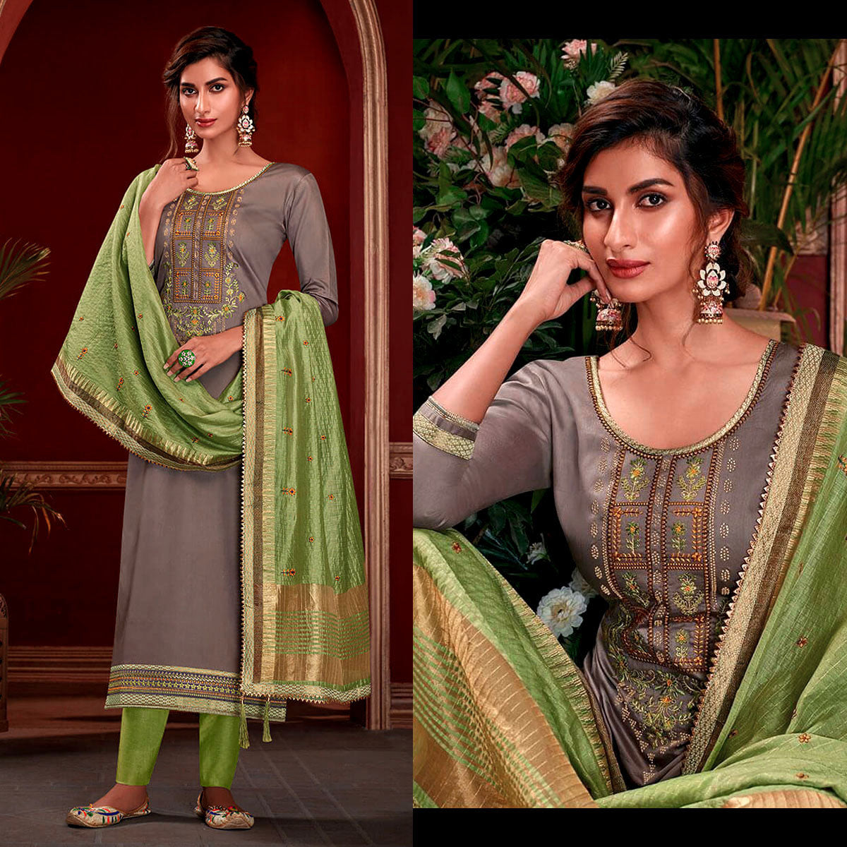 MOUSE GRAY SATIN COTTON UNSTITCHED SALWAR KAMEEZ SUIT w EMBR LIGHT GREEN KOTA SILK DUPATTA DRESS MATERIAL LADIES DEN - Ladies Den