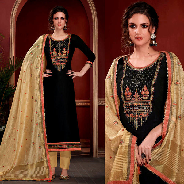 BLACK SATIN COTTON UNSTITCHED SALWAR KAMEEZ SUIT w EMBR DARK BEIGE KOTA SILK DUPATTA DRESS MATERIAL LADIES DEN - Ladies Den