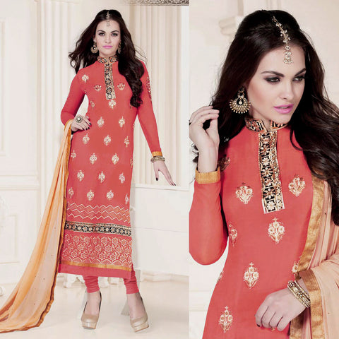 SALMON ORANGE GEORGETTE UNSTITCHED LONG SALWAR KAMEEZ SUIT DRESS MATERIAL w HEAVY EMBR LADIES DEN