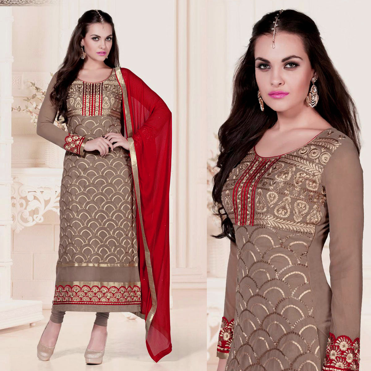 ROSE BROWN GEORGETTE UNSTITCHED LONG SALWAR KAMEEZ SUIT DRESS MATERIAL w HEAVY EMBR LADIES DEN