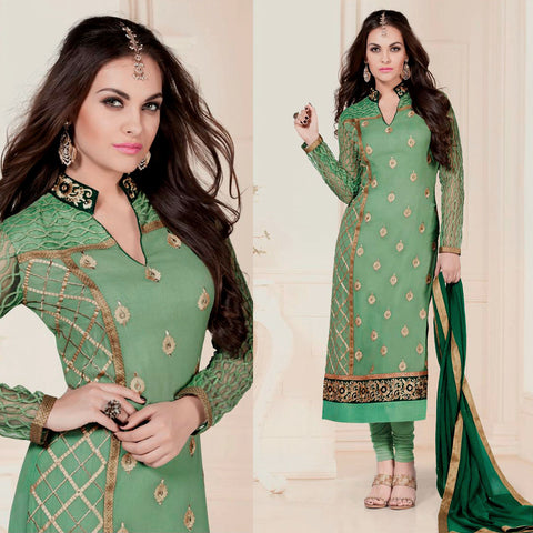 LT MINT GREEN GEORGETTE UNSTITCHED LONG SALWAR KAMEEZ SUIT DRESS MATERIAL w HEAVY EMBR LADIES DEN