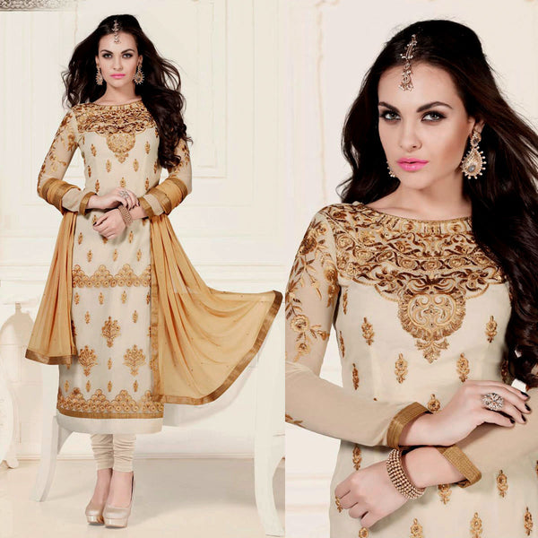 LIGHT BEIGE GEORGETTE UNSTITCHED LONG SALWAR KAMEEZ SUIT DRESS MATERIAL w HEAVY EMBR LADIES DEN