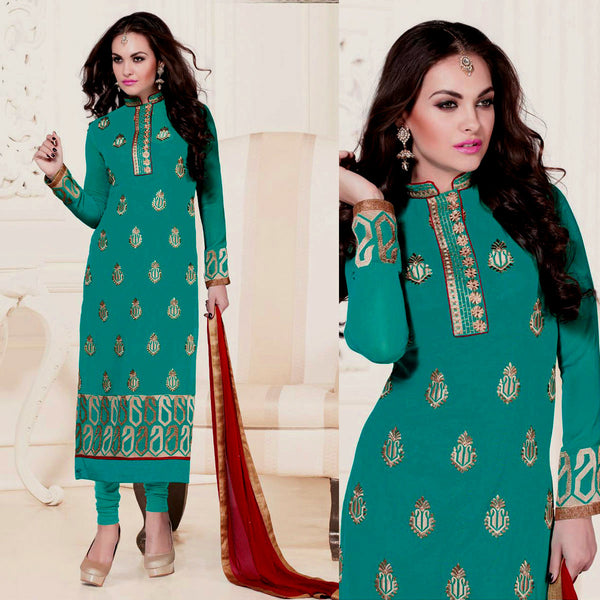 PERSIAN GREEN GEORGETTE UNSTITCHED LONG SALWAR KAMEEZ SUIT DRESS MATERIAL w HEAVY EMBR LADIES DEN