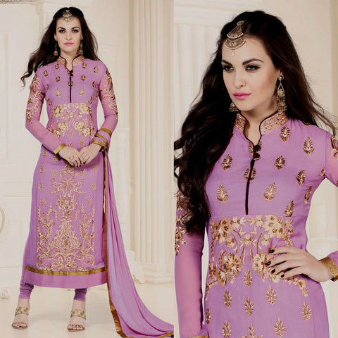 LIGHT ORCHID PINK GEORGETTE UNSTITCHED LONG SALWAR KAMEEZ SUIT DRESS MATERIAL w HEAVY EMBR LADIES DEN