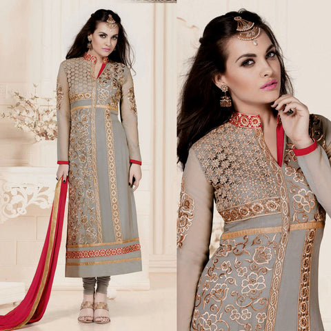 ASH GRAY GEORGETTE UNSTITCHED LONG SALWAR KAMEEZ SUIT DRESS MATERIAL w HEAVY EMBR LADIES DEN