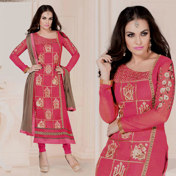 RUBY RED GEORGETTE UNSTITCHED LONG SALWAR KAMEEZ SUIT DRESS MATERIAL w HEAVY EMBR LADIES DEN