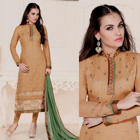 DARK BEIGE GEORGETTE UNSTITCHED LONG SALWAR KAMEEZ SUIT DRESS MATERIAL w HEAVY EMBR LADIES DEN
