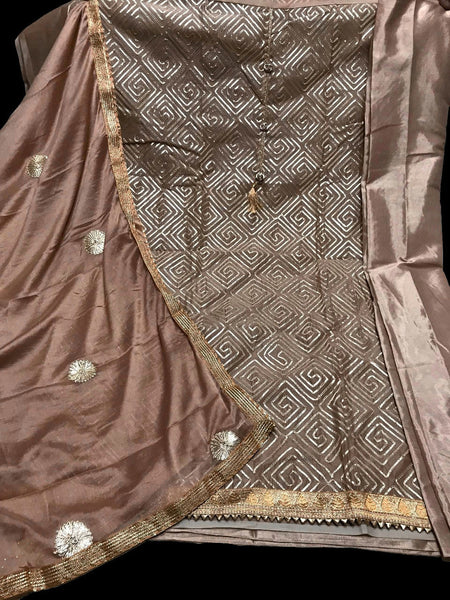 ROSE BROWN SEMI-SILK UNSTITCHED PATIALA SALWAR KAMEEZ SUIT DRESS MATERIAL w GOTA WORK LADIES DEN