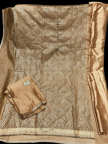 DULL GOLDEN BEIGE SEMI-SILK UNSTITCHED PATIALA SALWAR KAMEEZ SUIT DRESS MATERIAL w GOTA WORK LADIES DEN