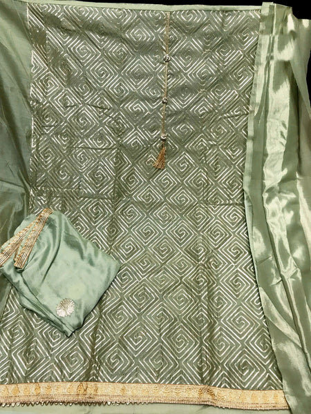 LIGHT GREEN SEMI-SILK UNSTITCHED PATIALA SALWAR KAMEEZ SUIT DRESS MATERIAL w GOTA WORK LADIES DEN