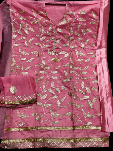 HOT PINK SEMI-SILK UNSTITCHED PATIALA SALWAR KAMEEZ SUIT DRESS MATERIAL w GOTA WORK LADIES DEN