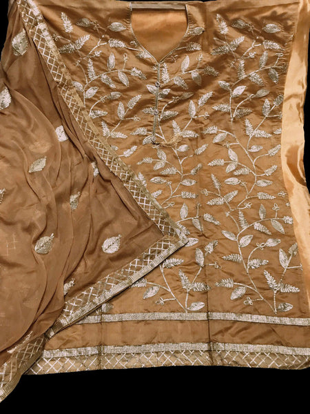 DARK BEIGE SEMI-SILK UNSTITCHED PATIALA SALWAR KAMEEZ SUIT DRESS MATERIAL w GOTA WORK LADIES DEN