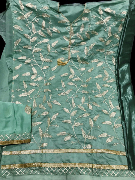 PALE AQUAMARINE SEMI-SILK UNSTITCHED PATIALA SALWAR KAMEEZ SUIT DRESS MATERIAL w GOTA WORK LADIES DEN