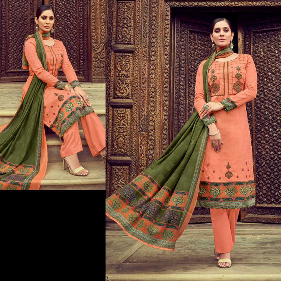 LIGHT ORANGE PRINTED SATIN COTTON UNSTITCHED SALWAR KAMEEZ SUIT w KASHMIRI EMBR DRESS MATERIAL LADIES DEN