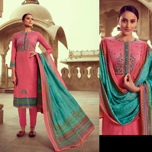 HOT PINK PRINTED SATIN COTTON UNSTITCHED SALWAR KAMEEZ SUIT w KASHMIRI EMBR DRESS MATERIAL LADIES DEN