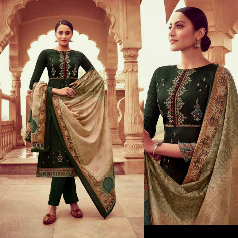 DARK BOTTLE GREEN PRINTED SATIN COTTON UNSTITCHED SALWAR KAMEEZ SUIT w KASHMIRI EMBR DRESS MATERIAL LADIES DEN