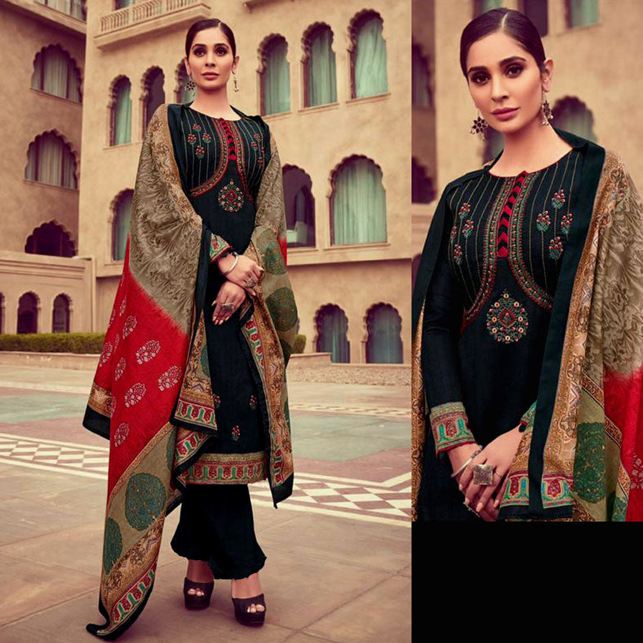 BLACK PRINTED SATIN COTTON UNSTITCHED SALWAR KAMEEZ SUIT w KASHMIRI EMBR DRESS MATERIAL LADIES DEN