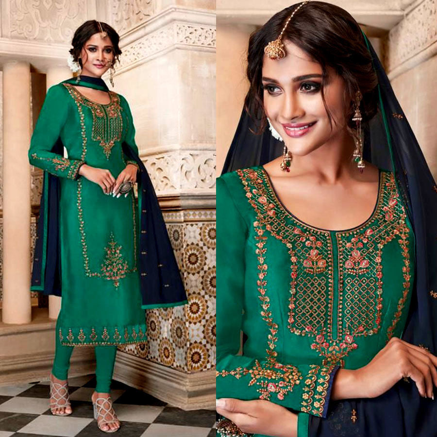 EMERALD GREEN SATIN GEORGETTE UNSTITCHED LONG SALWAR KAMEEZ SUIT DRESS MATERIAL w HEAVY EMBR LADIES DEN