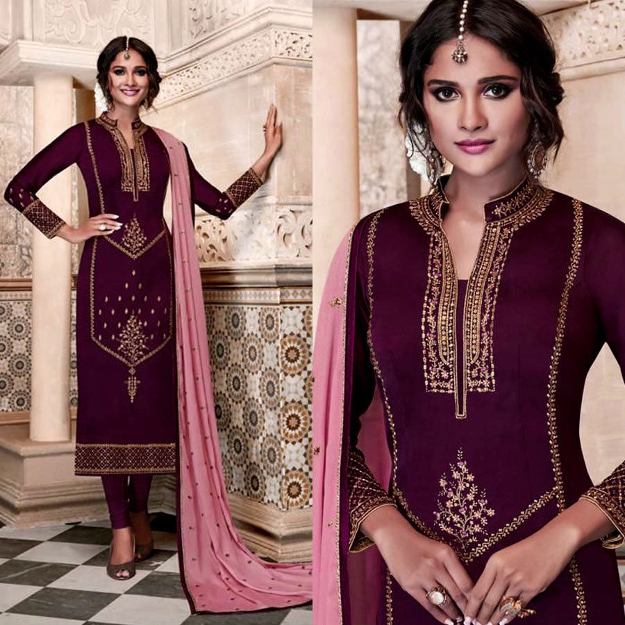 DARK PURPLE SATIN GEORGETTE UNSTITCHED LONG SALWAR KAMEEZ SUIT DRESS MATERIAL w HEAVY EMBR LADIES DEN
